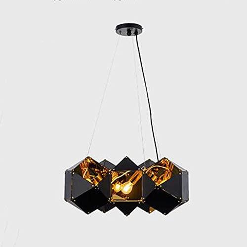 Wylolik Araña de cristal de espejo poliedro, luminaria de suspensión de lujo nórdica, personalidad creativa, luz colgante, lámpara de techo clásica clásica, elegante, accesorios para restaurante, sala