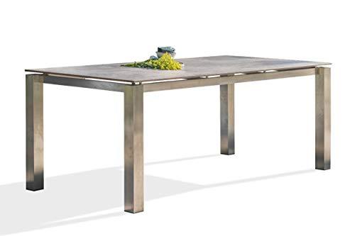 DCB GARDEN Torino Table de Jardin, Acier Inoxydable, Gris, 200x92
