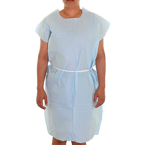 Dealmed Patient Exam Gowns, Tissue/Poly/Tissue 3-Ply, Latex-Free, Disposable, Universal, 30' x 42', Blue, 50 Count