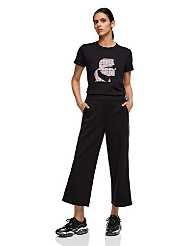 KARL LAGERFELD Womens Logo Tape Jersey Pants, Black, L