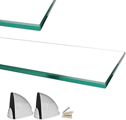 Euro Tische Mensola a Parete in Vetro con Vetro di Sicurezza temperato da 6 mm - Perfettamente Adatta Come mensola da Bagno/mensola in Vetro per bagni - Diverse Dimensioni (Cancella, 60 x 17,8 cm)