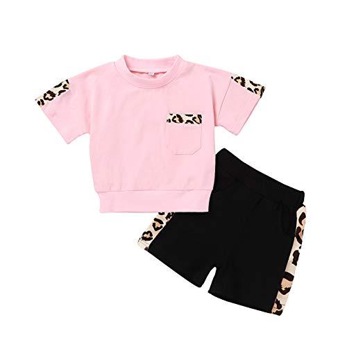 Kobay Kleinkind Kleinkind Baby Mädchen Leopard Tasche Kurzarm Tops + Shorts Outfits Sets