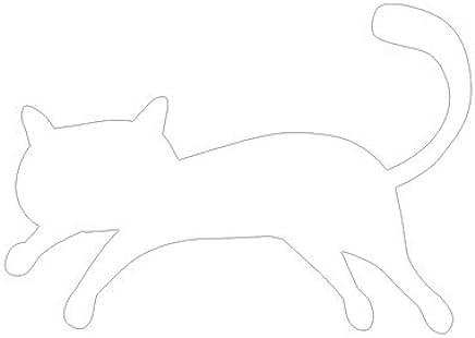 ピクトグラム ねこ C ステッカーデカール (白色 )