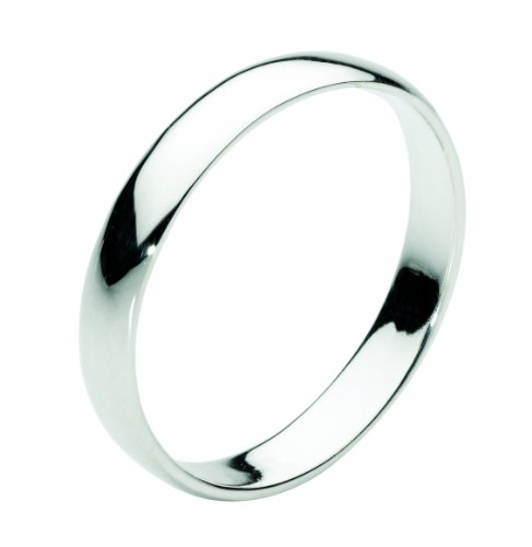 Dew Sterling Silver 3 mm D Section Plain Band Ring - Size - P