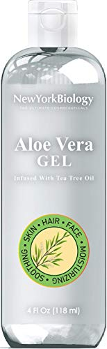 New York Biology Aloe Vera Gel for Skin Face and Hair - Infused with Tea Tree Oil – From Fresh Aloe Vera Plant – Antifungal Gel Helps Remove and Clean Germs and Bacteria - 4 oz - Packaging May Vary
