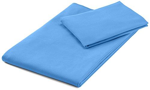 AmazonBasics Mikrofaser Sporthandtuch-Set (1 Badetuch & 1 Handtuch), Blau, 140 x 70 cm (Badetuch) 80 x 40 cm (Handtuch)