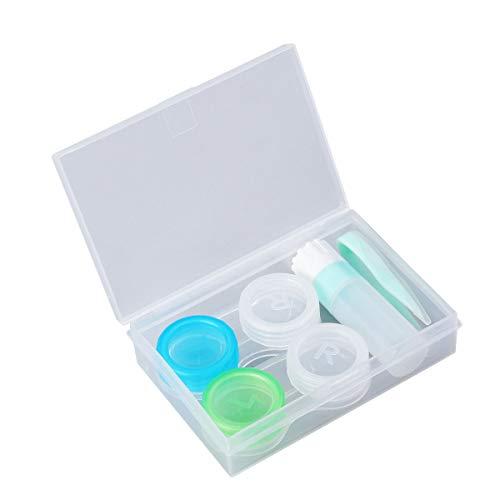 SUPVOX 2Pcs Lenti a contatto Custodia per lenti a contatto Kit da viaggio Doppia porta lenti portatile Contenitore con pinzette Soluzione Bottiglia e vasetto di conservazione (verde)