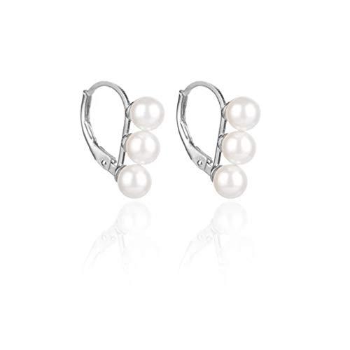 Amaer Simulated Freshwater Pearl Clip On Earrings Multi Earrings Not Pierced Elegant Stud Jewelry For Women Girls (Silver)