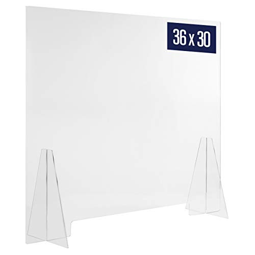 Sneeze Guard Acrylic Shield Barrier - 36'W x 30'H Durable Plastic Shield for Desktop or Counter. Self Standing Protection for Workplace to Shield Coughs, Sneezes, Saliva, Breath, and Contact Exposure