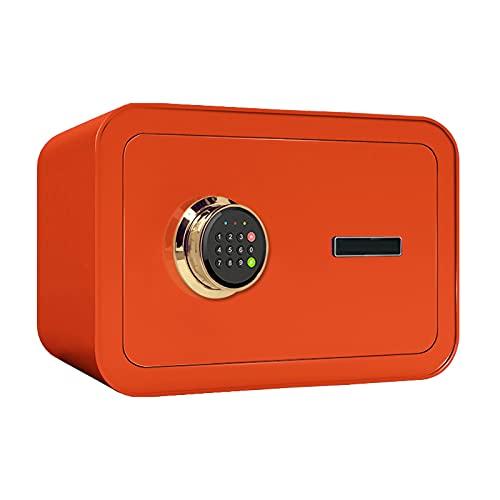 VIY Caja Fuerte de Seguridad electrónica con Cerradura Electrónica y Llaves de Emergencia, Montada en la Pared, Cajas Fuertes Pequeña para Oficina o hogar por Dinero, Joyas,Naranja