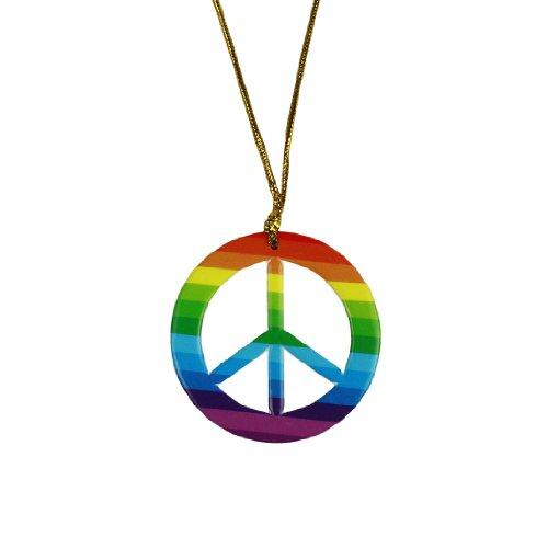 HAAC Halskette Kette mit Peacezeichen Peace Zeichen Anhänger Farbe Regenbogen 6 cm Durchmesser
