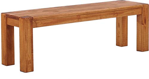 Brasilmöbel Sitzbank 120 cm Rio Kanto Honig Pinie Massivholz Esszimmerbank Küchenbank Holzbank - Größe und Farbe wählbar