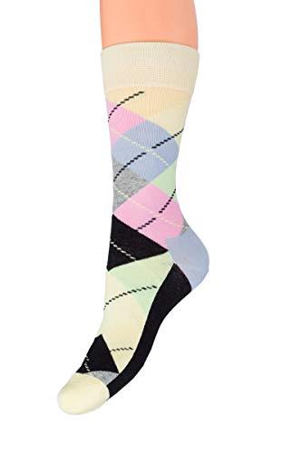 SOFTSAIL Unisex bunte Wadenlänge Socken Dicke Baumwolle Elastisch Warm Universal Gemusterte Strümpfe ZX3-6881 Gr. X-Large, beige