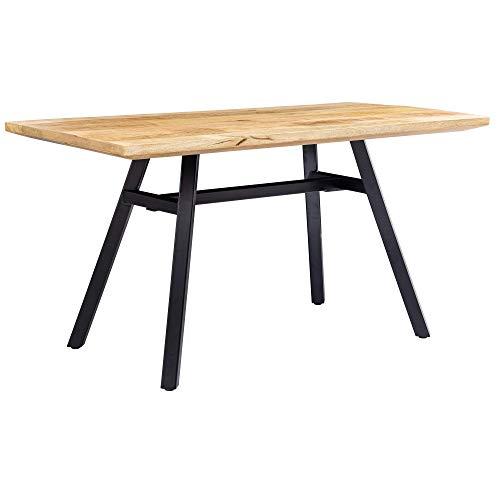 FineBuy Esstisch Mango Massivholz 180x78x90 cm Esszimmertisch Natur | Küchentisch Massiv mit Metallgestell | Loft Holztisch | Industrial Tisch