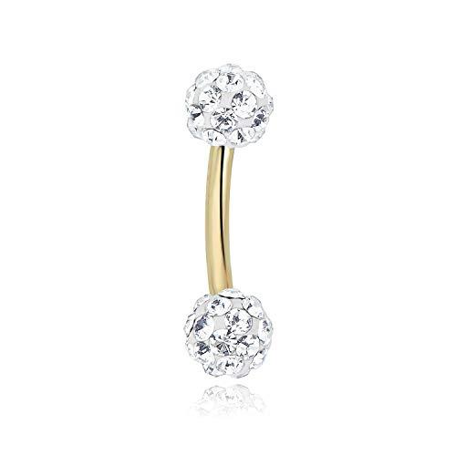 AVORA 10K Yellow Gold Swarovski Elements Crystal Curved Barbell Eyebrow Body Jewelry -016 Gauge