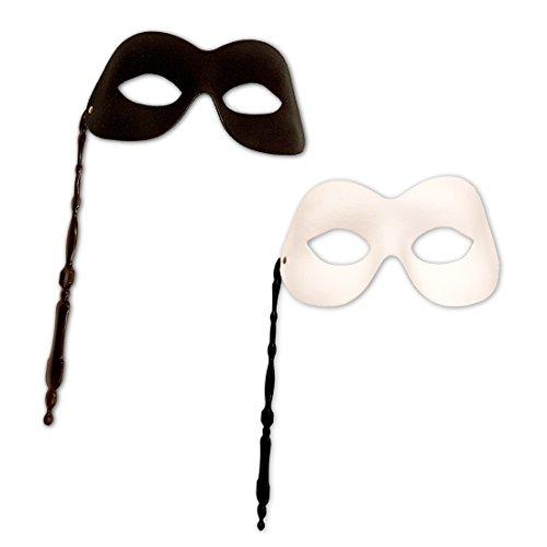 Amakando Elegante Lorgnette Venedigmaske Venezianische Stab Maske Weiße Stabmaske Faschingsmaske Karnevalsmaske Ball Maske