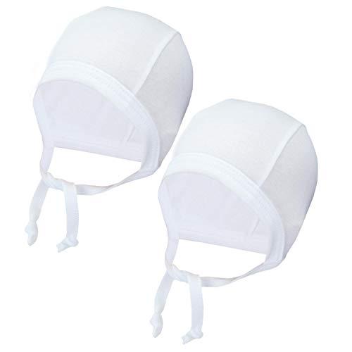 TupTam Unisex Baby Erstlingsmütze zum Binden 2er Pack, Farbe: Weiß, Größe: 50-56