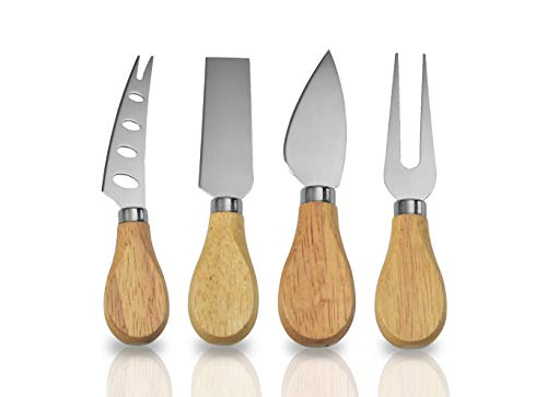 Juego de 4 cuchillos de queso de bambú con mango de madera, acero inoxidable, cortador de queso