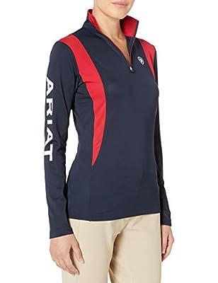 Ariat Women's Sunstopper 1/4 ZipShirt, Navy, Medium
