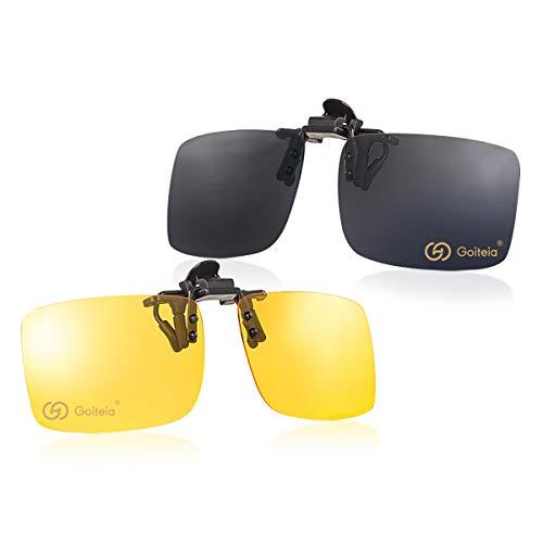 2-Pack Polarisierte Sonnenbrillen-Aufsatz, Sonnenbrille Clip+Nachtfahrbrille Clip Herren Damen für Brillenträger zum Autofahren, Flip-up Sonnenbrille Aufsteck mit UV 400 Blendschutz