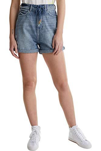 edc by ESPRIT Damen 040CC1C308 Jeans-Shorts, 903/BLUE Light WASH, 30