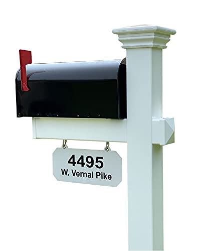 4Ever Products The Madison Vinyl Mailbox Post System - Includes Black Steel Mailbox and Custom Street Address