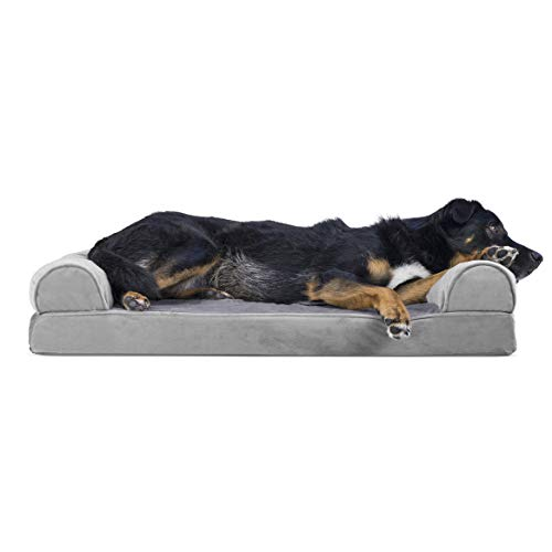 Furhaven Pet Dog Bed - Memory Foam Faux Fur & Velvet Traditional Sofa-Style Living Room Couch Pet Bed w/ Removable Cover for Dogs & Cats, Smoke Gray, Large
