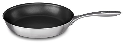 KitchenAid KC2C12NKST Poêle à frire anti-adhésive 5 couches avec noyau en cuivre 30,5 cm, finition en acier inoxydable, taille moyenne