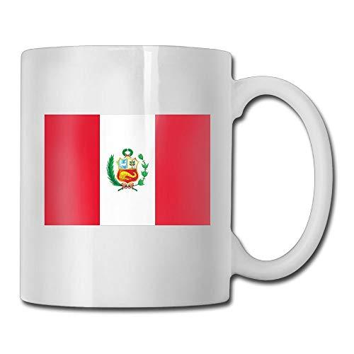 Taza de café personalizada con la bandera de Perú, taza de té de cerámica de 11 onzas para mujeres