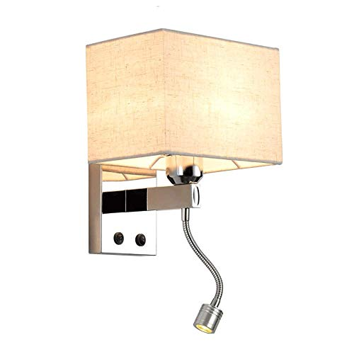 WEM Lámparas de pared, aplique de pared moderno con cable con pantalla de tela con interruptor, lámparas de pared de montaje empotrado en interiores para lectura junto a la cama del dormitorio, acces