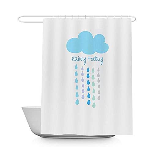 FBBSZSD Langer Badevorhang mit Duschvorhängen Badezimmer Wasserdichter Schimmelwiderstandsfähiger Waschbarer Badevorhang Stoff Mit 12 Haken Vorhang Für Badezimmer 180X200cm Wolken Regentropfen Du