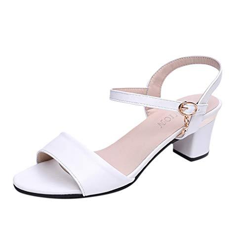 Amlaiworld  Damen Sandalen mit hohen Absätzen, Mode Damen fischmund Schnalle tragen Sandalen Mode Dame einfarbig Wilde Schnalle tragen hochhackige(Weiß,36)