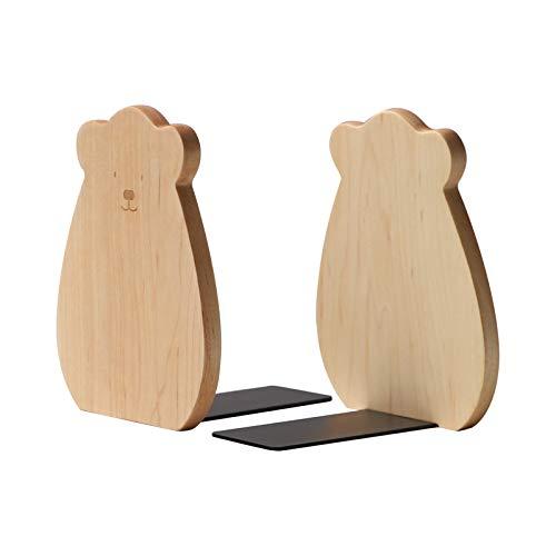 muso wood Buchstützen für Regale, dekorative Buchstützen für Kinder, rutschfeste Holz-Buchstützen zum Halten von Büchern/Büro/Zuhause/Schule (1 Paar)
