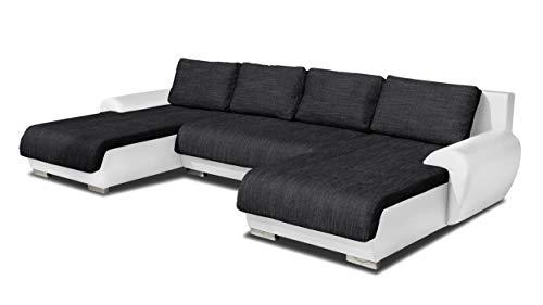 Wohnlandschaft Eckcouch Ecksofa Otis - Big Sofa, Couch mit Schlaffunktion und Bettkasten, U-Sofa, U-Form (Weiß + Schwarz (Madryt 120 + Berlin 02))