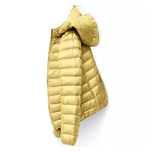 WANGYOU Puchowa kurtka damska płaszcz jesień zima wiosenne kurtki pasują do ciepłej pikowanej panie i lekkie kobiety ultralight z kapturem lasting (Color : Straw yellow Hooded, Size : XXL)