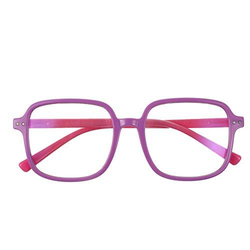 PRETYZOOM Kinder Blaulichtfilter Brille Gläser ohne Stärke Computerbrille Silikon Brillengestell Damen Herren Blaulicht Blockierende Brille für Mädchen Jungen Computer Video Gaming UV