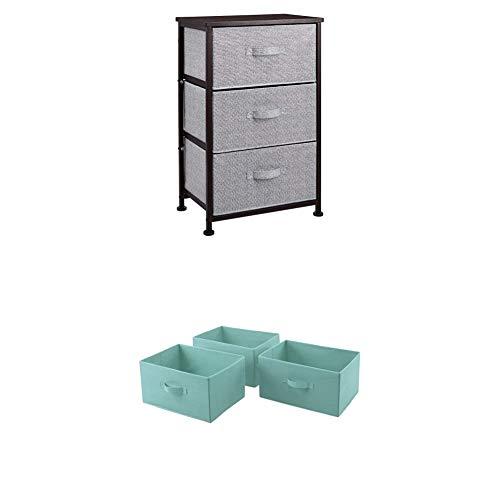 Amazon Basics - Aufbewahrungsschrank für Kleiderschränke, mit 3 Stoff-Schubladen, bronzefarben + Ersatzschubladen aus Stoff für einen Aufbewahrungsschrank mit 3 Schubladen, Mintgrün