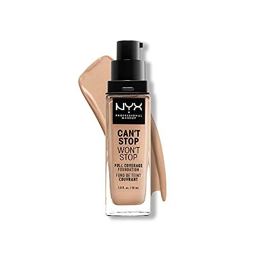 NYX Professional Makeup Fondotinta, Can t Stop Won t Stop Full Coverage Foundation, Lunga tenuta, Waterproof, Finish Matte, Tonalità: Natural