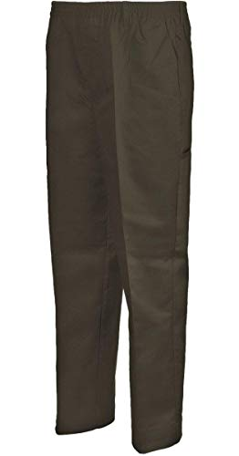 Benefit Wear Mens Adaptive Full Elastic Waist Twill Pants with Hook-and-Loop Waistband & Fly (M, Brown)