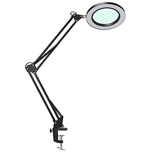 Psiven LED Magnifying Lamp, Dimmable Magnifier Desk Lamp/Task Lamp with Clamp (3 Lighting Modes, 10W, 5 Diopter, 4.1'' Glass Lens) Highly Adjustable Swing Arm Craft, Workbench, Drafting, Work Light