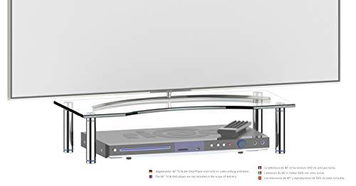 RICOO FS5624-B Meuble TV 56x24x10 cm Réhausseur écran Universel Étagere Bureau Support Tablette pour Télévision ecran PC Verre Noir/Argenté