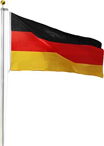 Aluminium Fahnenmast inkl. Deutschland Fahne + Bodenhülse + Zugseil - in verschiedenen Höhen wählbar Farbe Germany Größe 9.00 Meter
