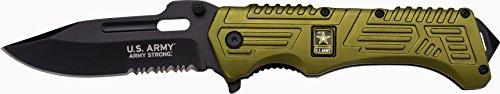 U.S. Army Taschenmesser A-A1022 Serie, US ARMY Medaillon ALU Messer Griff CAMO, scharfes Jagdmesser, Outdoormesser 10,2 cm ROSTFREI Klinge Halbgezahnt, Klappmesser für  Angeln/ Camping