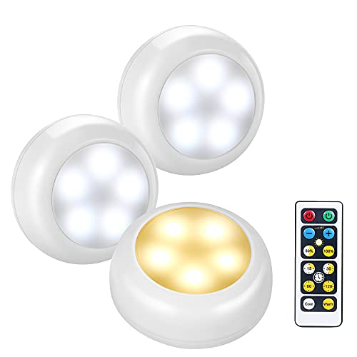 BLS AA-1033 LED Dimmable Wireless Puck Lights with Remote Control and Timer, 3 AA Battery Operated, Push Lights Stick on Anywhere for Cabinet, Showcase, Wardrobe, Cool White and Warm White (3 Pack)
