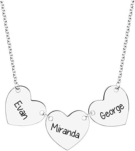 Collar kyznx de plata esterlina 925 Collar con nombre grabado de 3 corazones para la familia Madre Abuela Esposa Amigo Collar colgante Regalo 16.0 Plata