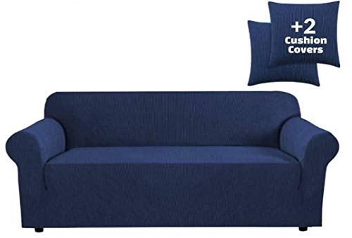JINAMART High Stretch Water Resistance Couch Cover -One Piece Sofa Cover + Two Cushion Covers and Pockets on The Sides + Non Skid Foam and Elastic Bottom for Kids, Pets (Medium, Navy Blue)