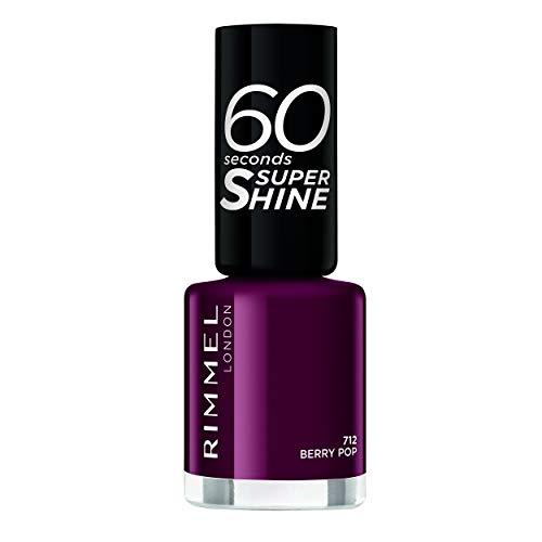 Rimmel – Nagellack 60 Sekunden Super Shine Colour Block – Ultra Glanz und langer Halt – schnelltrocknend – 712 Berry Pop – 8 ml