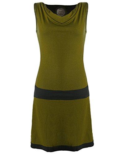 Vishes - Alternative Bekleidung - Ärmellose Tunika aus Biobaumwolle mit Wasserfallkragen Olive 46 (3XL)