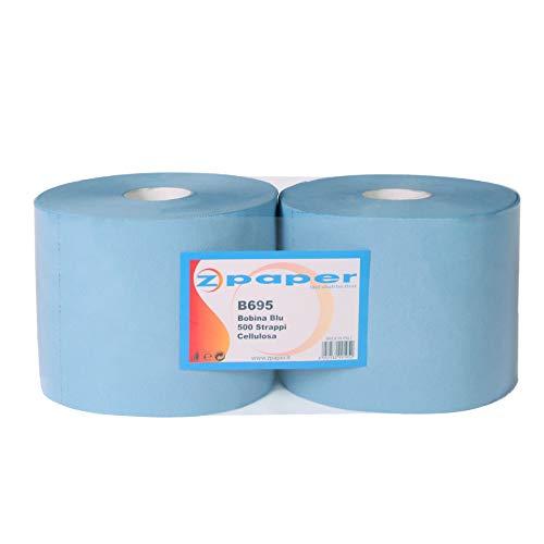 ZPAPER - Bobina Rotolone BLU asciugatutto 500+500 Strappi - 3 Veli, Carta Cellulosa molto assorbente. Confezione da 2 rotoli asciugamani