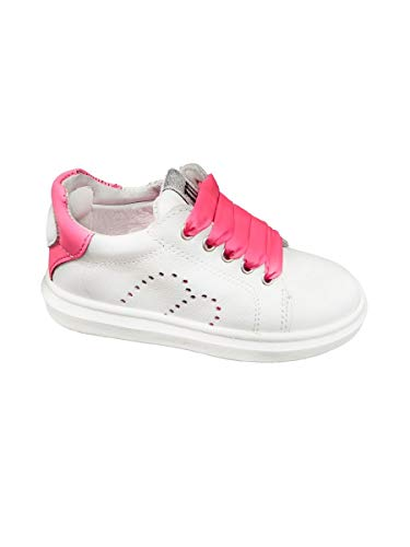 Melania Sneakers Basse Blanc Lacets Satin Fuchsia - Blanc - Bianco Fuxia, 32 EU EU